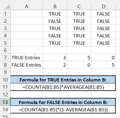 Counting TRUE and FALSE Entries